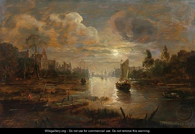 A Moonlit Landscape With A Boat Approaching A River-Side Town - German School