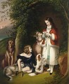 Two Young Girls With A Deer And Dogs Near A Cave Entrance - German School