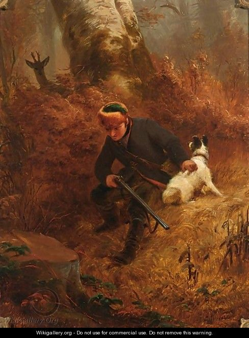 A Hunter And His Dog Stalking A Deer - Friedrich Wilhelm Pfeiffer
