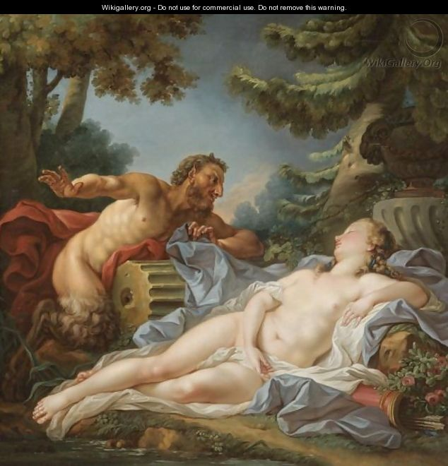A Satyr Surprising A Sleeping Nymph - (after) Francois Boucher