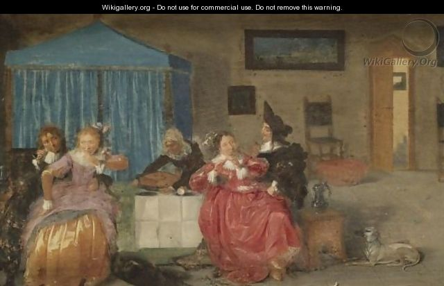 A Brothel Scene With Elegant Figures Carousing - Dutch School