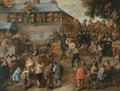 A Crowded Duelling Scene Before A House - Dutch School