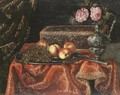 A Still Life With Grapes And Peaches On A Pewter Plate, Together With An Inlaid Coffer And Roses - (after) Antonio The Younger Gianlisi