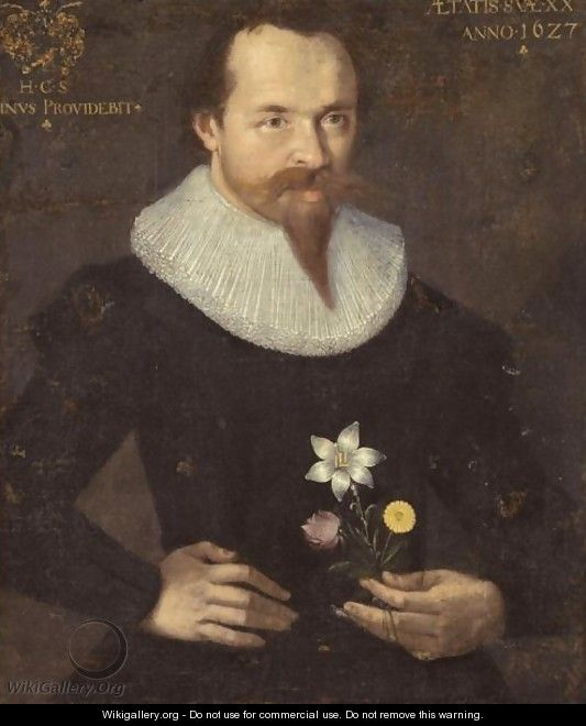 Portrait Of A Gentleman In A Ruff, Wearing Black, Half Length, Holding A Lily, A Rose And A Dandelion - German School