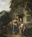 The Exterior Of A Cottage With Peasants Conversing At A Doorway - (after) Adriaen Jansz. Van Ostade