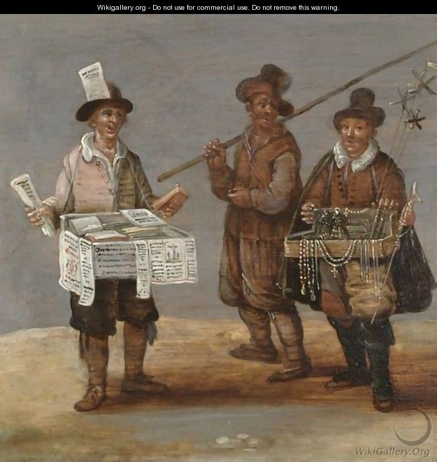 A Pamphlet Seller And A Pilgrim Together With A Merchant Hawking Religious Trinkets - (after) Sebastian Vrancx