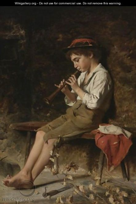 Boy Playing Clarinet - Luigi Bechi