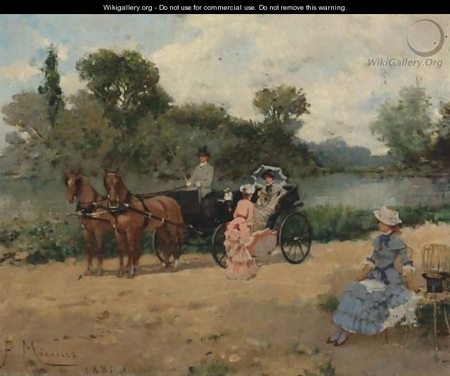 Carriage Ride By The River - Francisco Miralles Galup