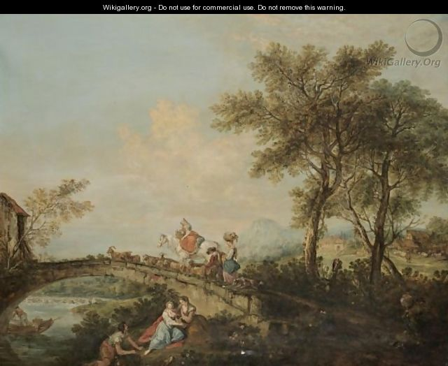 An Arcadian River Landscape With A Family And Their Animals Corssing A Bridge - (after) Francesco Zuccarelli