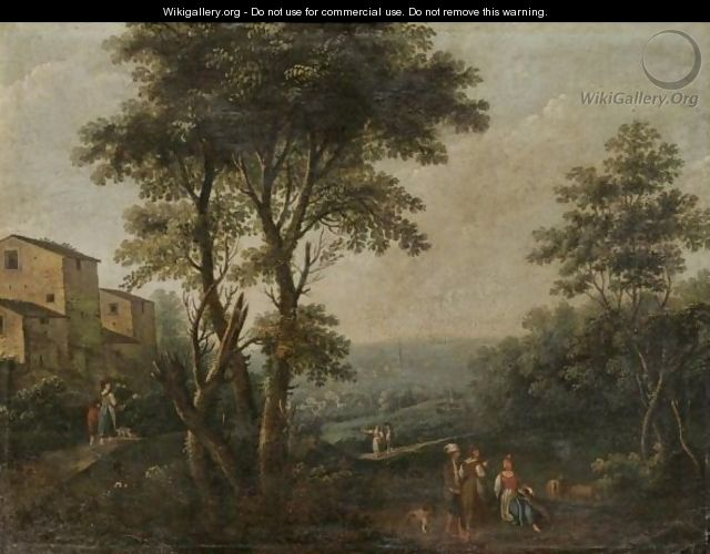 An Italianate Landscape With Figures Resting In The Foreground - Andrea Porta