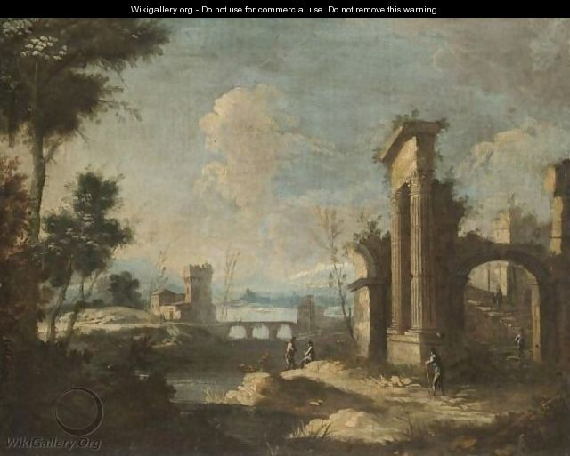 An Italianate River Landscape With Pastoral Figures Amongst Classical Ruins - (after) Antonio Stom