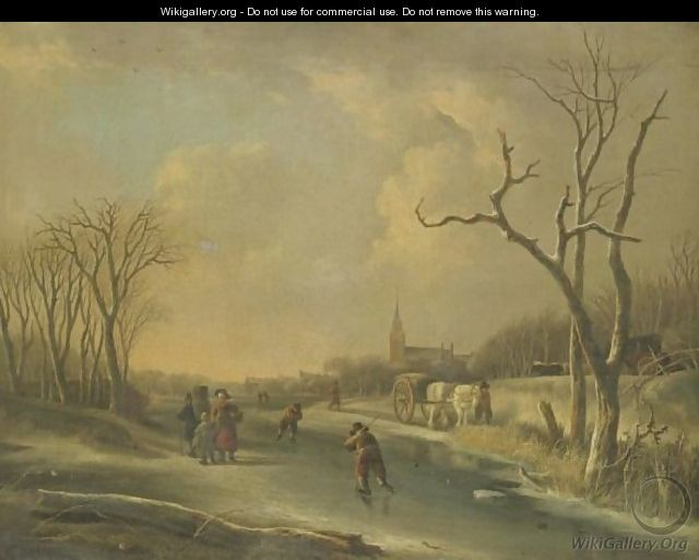 A Winter Landscape With Skaters On A Frozen River, Together With A Family Of Faggot Gatherers - Andries Vermeulen