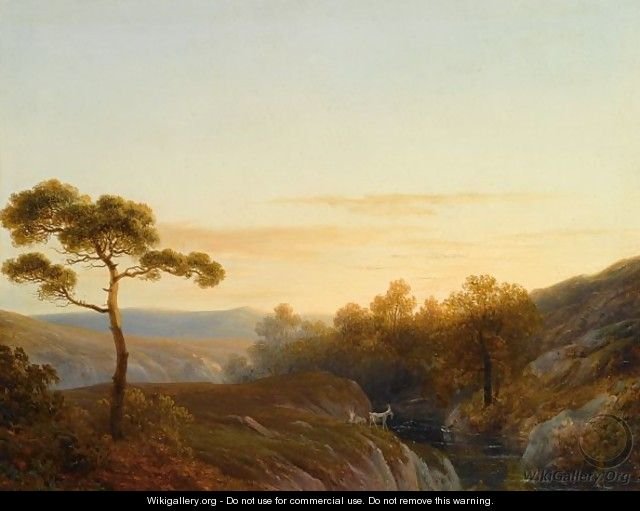 Early Morning In A Mountainous Landscape - Joseph Augustus Knip