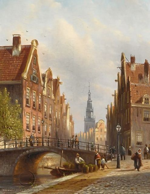 A View Of A Canal, Amsterdam - Johannes Franciscus Spohler