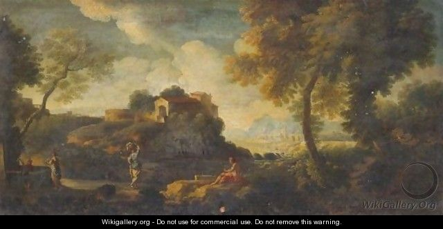 An Italianate Landscape With Women At A Well - (after) Jan Frans Van Orizzonte (see Bloemen)