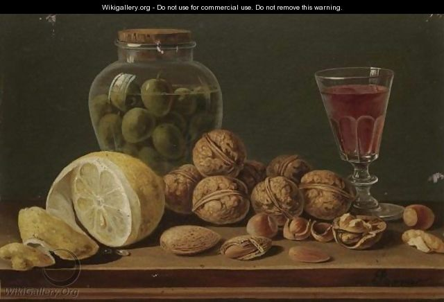 Still Life With Walnuts, Olives In A Glass Jar, A Partly Peeled Lemon And A Glass Of Red Wine - Miguel Parra