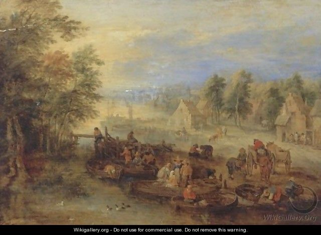 Fishermen Unloading Their Catch On A Riverbank Near A Village - Theobald Michau