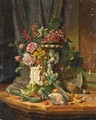 A Still Life With Flowers, Fruit And Game - David Emil Joseph de Noter