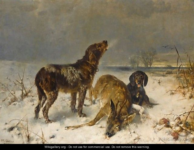 Two Hunting Dogs With Their Catch - Friedrich Otto Gebler