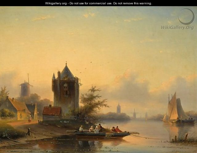 A Summer Landscape With A Ferry Crossing A River - Jan Jacob Coenraad Spohler