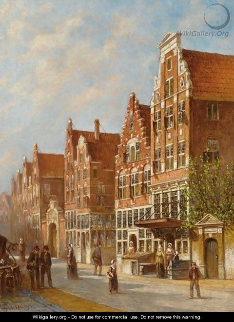 Figures In The Sunlit Streets Of A Dutch Town 2 - Pieter Gerard Vertin