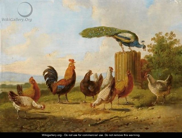 A Hen And Her Chicks In A Landscape (a Pair) - Albertus Verhoesen