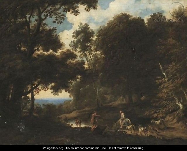 A Wooded Landscape With Drovers Watering Their Herd - Cornelis de Bie