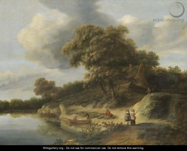 A River Landscape With Figures In Rowing Boats And An Elegant Couple On The River Bank - Hendrick Van Der Straaten