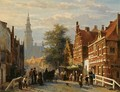 Gezicht Achter Het Stadhuis Te Bolsward (A View Of Bolsward With The Townhall In The Distance) - Cornelis Springer