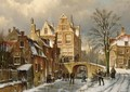 Figures On A Frozen Canal In A Dutch Town - Willem Koekkoek