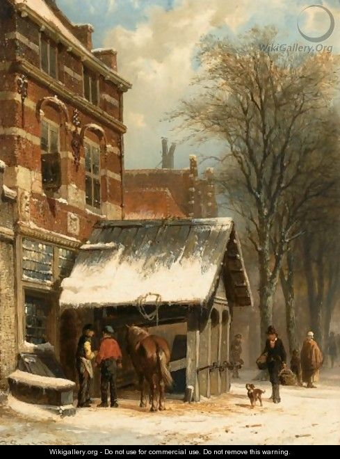 The Smithy Of Culemborg In Winter Time - Cornelis Springer