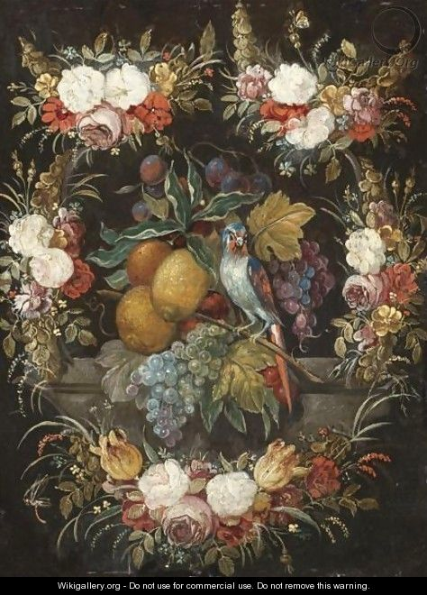 Still Life Of Grapes, Plums, Lemons An Orange And A Parrot Surrounded By A Garland Of Flowers - Flemish School