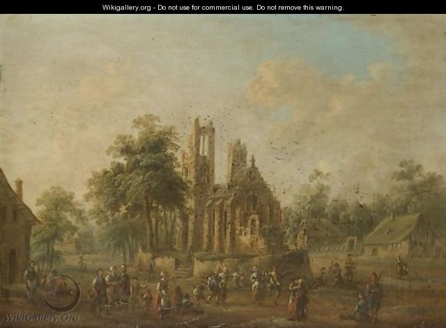 A Village Scene With Industrious Figures Before A Well Kept Church - (after) Johann Alexander Thiele