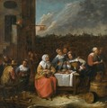 An Elegant Company Eating, Drinking And Smoking In The Courtyard Of An Inn - Gillis van Tilborgh
