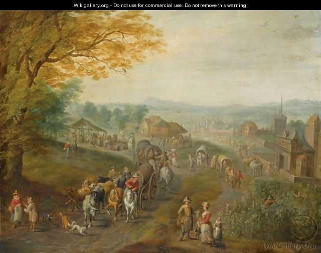 A Landscape With Travellers With Horse-Drawn Wagons On A Path, A View Of A Town Beyond - Karel Beschey