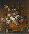 A Still Life With Roses, Tulips, Irisses, Poppy Anemones, Auricula, Hyacinths And Other Flowers, All In A Terracotta Sculpted Vase - (after) Jean-Baptiste Monnoyer