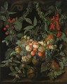A Still Life With A Garland Of Peaches, Pears, Melons, Plums, Apricots, Grapes, Apples, Berries And Cherries - Jan van Kessel