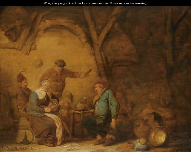 Peasants Smoking And Drinking In An Inn, A Still Life Of Earthenware Pots And A Copper Bowl To The Right - Benjamin Gerritsz. Cuyp