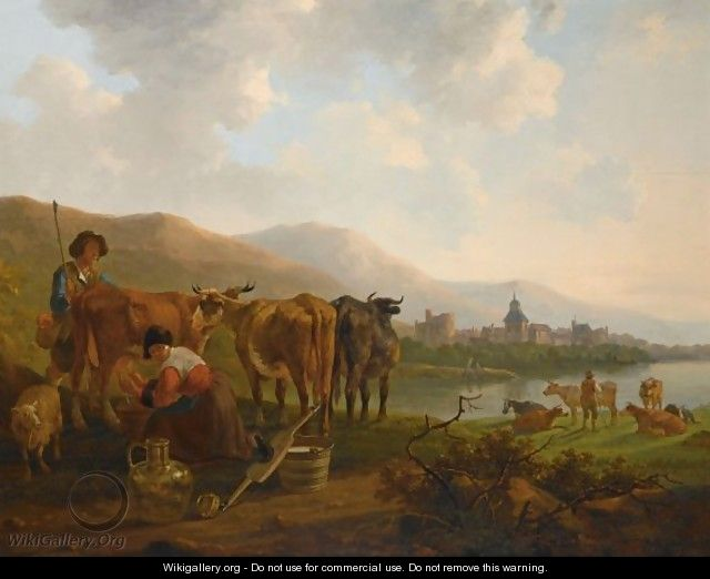 A River Landscape With A Shepherd And His Cattle Together With A Milkmaid Milking A Cow, A Town Beyond - Jacob van Strij