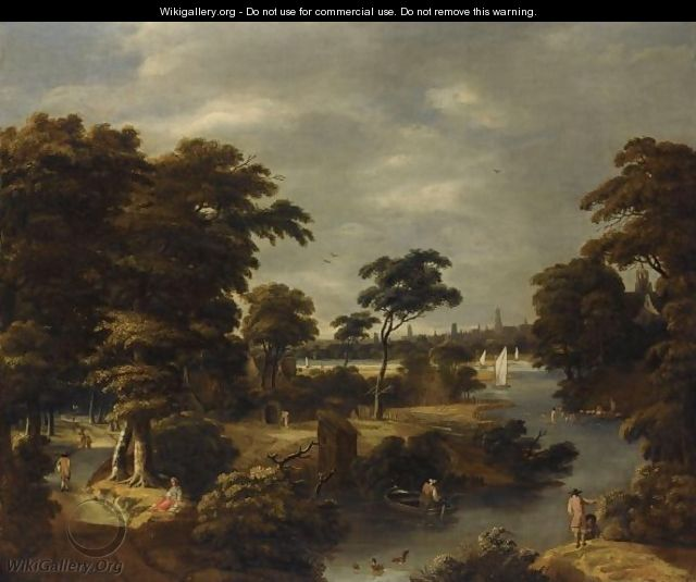 A Wooded River Landscape With Several Men Bathing, Travellers On A Path To The Left - Jan Looten