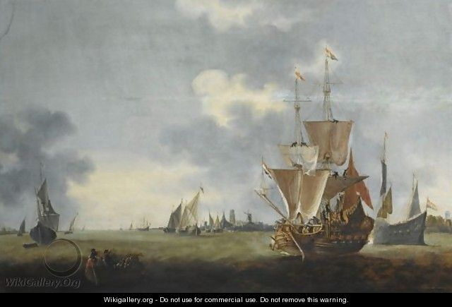 Merchantmen And Other Shipping Sailing Out Of The Harbour Of Dordrecht, A Ferry With Figures To The Left Foreground - (after) Hendrick De Meijer