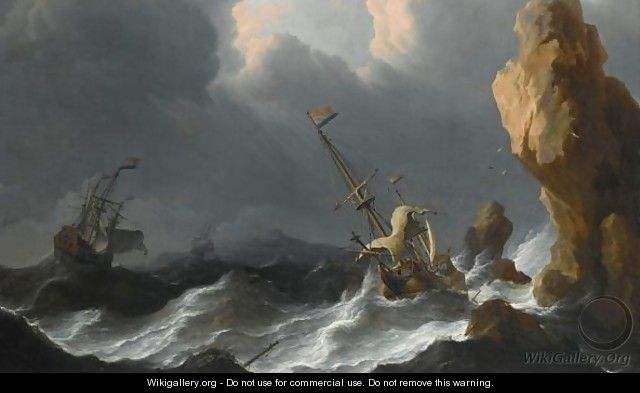 A Shipwreck In A Heavy Storm Along A Rocky Coast - Aernout Smit