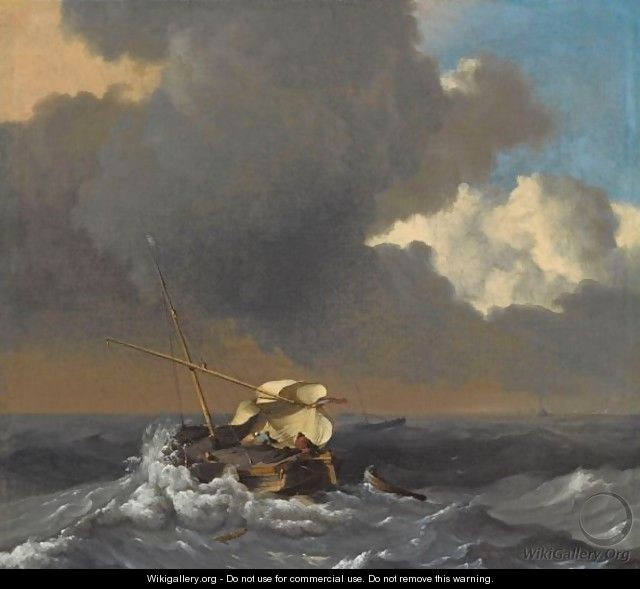A fishing boat in a rough sea ludolf backhuysen for Fishing boat painting