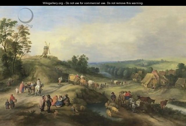 Landscape With Travellers And Waggons Approaching A Village - Theobald Michau