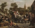 A Market Scene, With A Horse And Cart And Travellers Taking Refreshment - Jan Victors