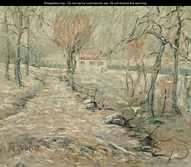 Winter Landscape With House - Ernest Lawson