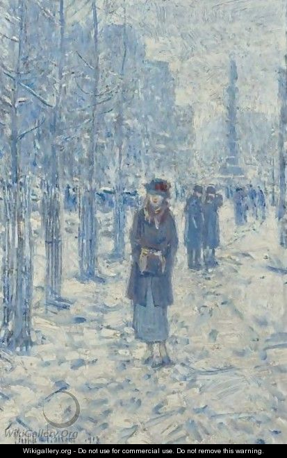 Kitty Walking In Snow - Frederick Childe Hassam