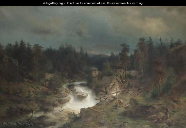 Old Mill At The Waterfall - Herman Herzog