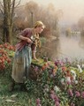 Brittany Girl Fishing - Daniel Ridgway Knight