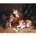Three Young Kittens - Alphonse de Neuville